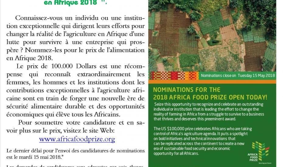 Nominations pour le prix de l'alimentation en Afrique 2018